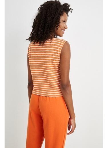 Curly Oranj Çizgili Kısa Top Oranj